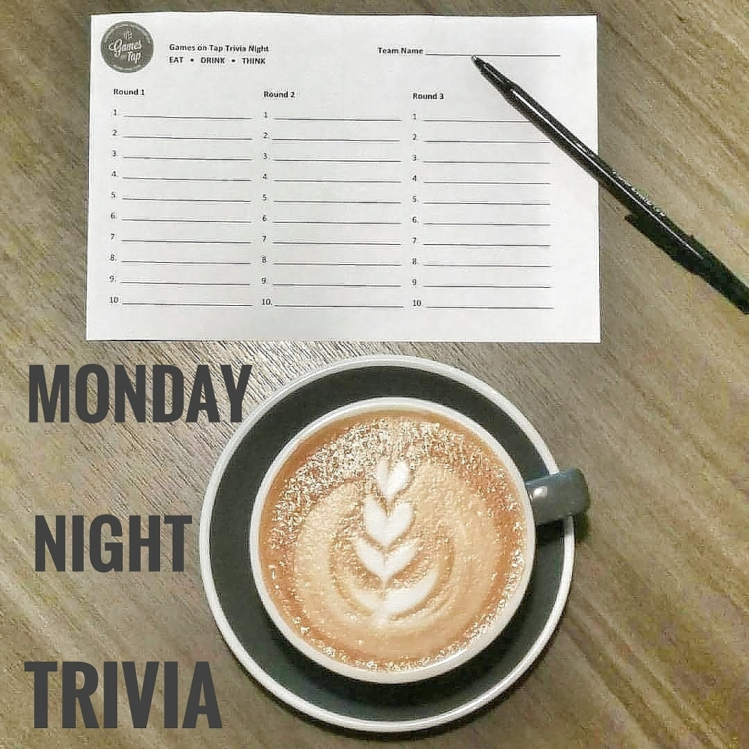 Monday Night Trivia. Trivia Sheet. Latte